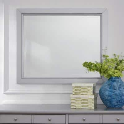 Medium Rectangle Gray Beveled Glass Classic Mirror (36 in. H x 30 in. W)
