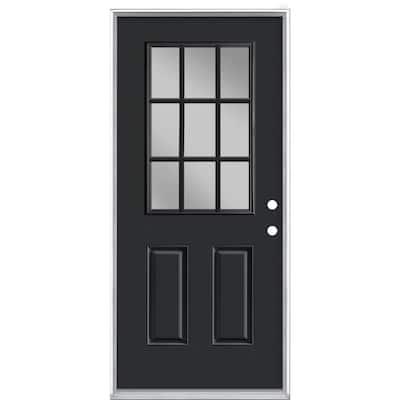36 in. x 80 in. 9 Lite Jet Black Left Hand Inswing Painted Smooth Fiberglass Prehung Front Exterior Door, Vinyl Frame