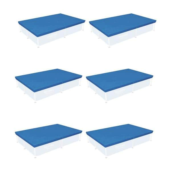 Bestway 4 Ft X 8 Ft Rectangle Above Ground Swimming Pool Cover 6 Pack 6 X 58103 Bw The Home Depot