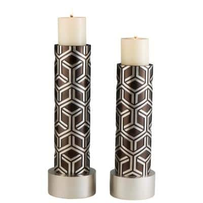 Brown And Silver Savannah Chestnut Polyresin Candleholders