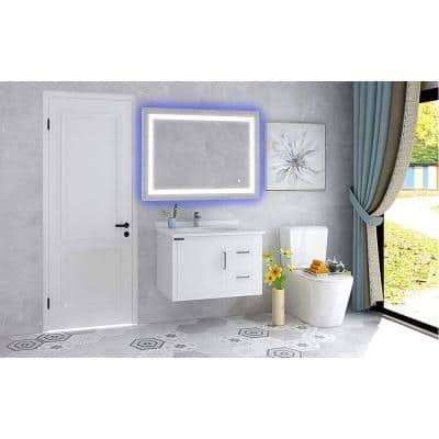39.5 in. W x 28.5 in. H Frameless Rectangular LED Light Bathroom Vanity Mirror in Clear