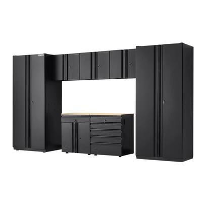 7-Piece Heavy Duty Welded Steel Garage Storage System in Black (156 in. W x 81 in. H x 24 in. D)