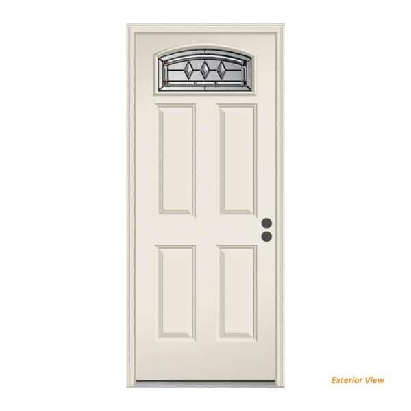 Jeld Wen 36 In X 80 In Camber Top Mission Prairie Primed Steel Prehung Left Hand Inswing Front Door W Brickmould Thdjw166700576 The Home Depot