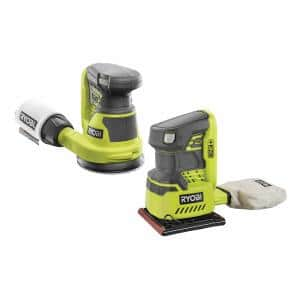ONE+ 18V Lithium-Ion Cordless 5 in. Random Orbit Sander and 1/4 Sheet Sander with Dust Bag (Tools Only)