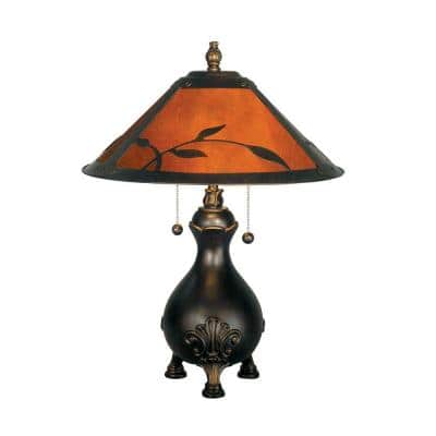 Mica 22 in. Antique Golden Sand Amber Leaves Table Lamp