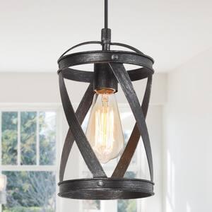 Gulliver 1-Light Modern Industrial Pendant Brushed Black Drum Cage Island Bar Mini Pendant Light