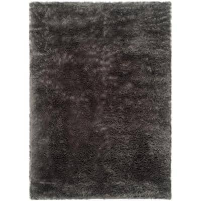 Faux Sheep Skin Gray 8 ft. x 10 ft. Gradient Solid Area Rug
