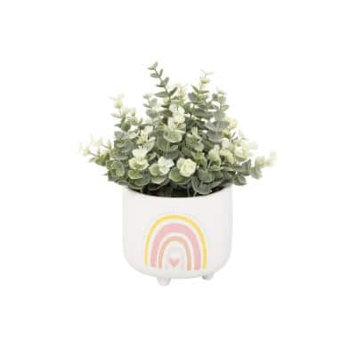 Artificial Eucalyptus in 4.75 in. Double Rainbow Ceramic Footed Pot