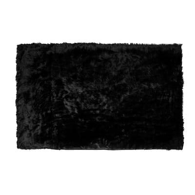 Black Rectangular 5 ft. x 8 ft. Ailis Faux Sheepskin Fur Area Rug