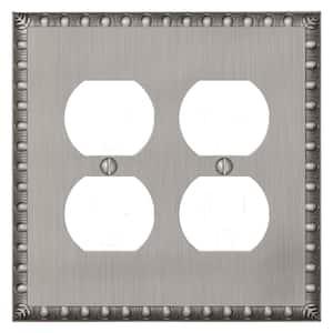 Antiquity 2 Gang Duplex Metal Wall Plate - Antique Nickel