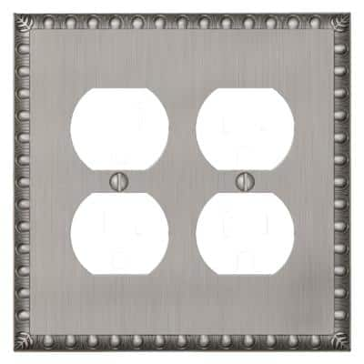 Antiquity 2 Gang Duplex Metal Wall Plate - Antique Nickel