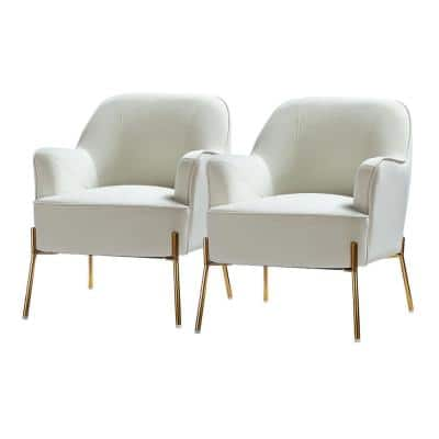 Nora Ivory Gold Legs Accent Chair Set of 2