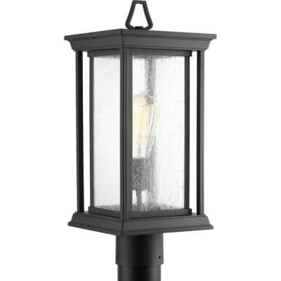 Endicott Collection 1-Light Textured Black Clear Seeded Glass Craftsman Outdoor Post Lantern Light
