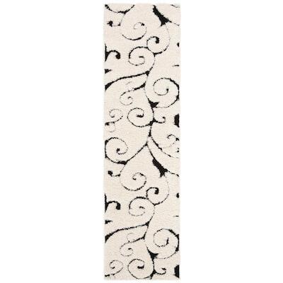 Florida Shag Ivory/Black 2 ft. x 13 ft. Floral Runner Rug