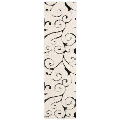 Florida Shag Ivory/Black 2 ft. x 17 ft. Floral Runner Rug