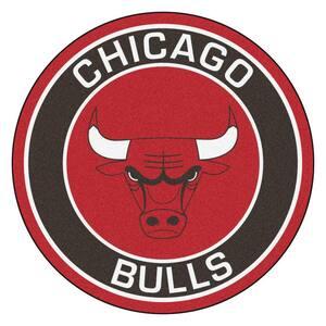 NBA Chicago Bulls Black 2 ft. x 2 ft. Round Area Rug