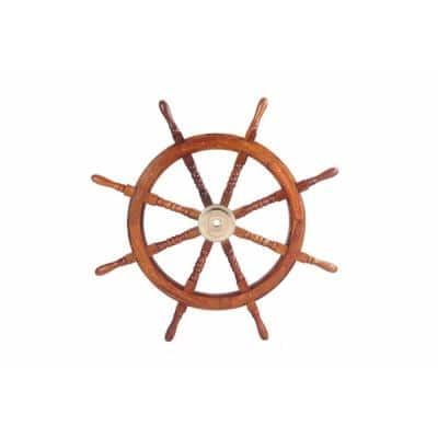 Wooden Brown Ship Wheel with Brass Hub and 8-Spokes