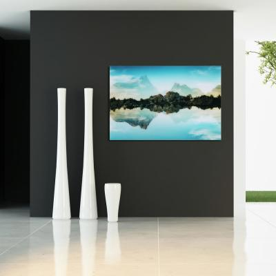 """32 in. x 48 in. """"Quiet Waters"""" Frameless Free Floating Tempered Glass Panel Graphic Wall Art"""