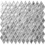 10 pack 10.8-in x 11.4-in Silver Diamond Matte Finished Glass Mosaic Floor and Wall Tile (8.55 Sq ft/case)