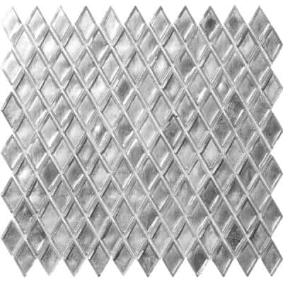 Apollo Tile 10 pack 10.8-in x 11.4-in Silver Diamond Honed Glass Mosaic Floor and Wall Tile (8.55 Sq ft/case)