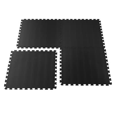 Ultimate Comfort 24 in. x 24 in. Black Foam Garage Flooring (4-Pack)