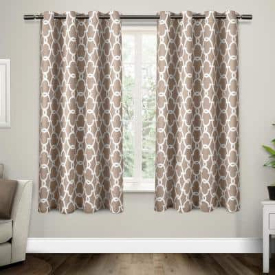 Taupe Trellis Thermal Blackout Curtain - 52 in. W x 63 in. L (Set of 2)