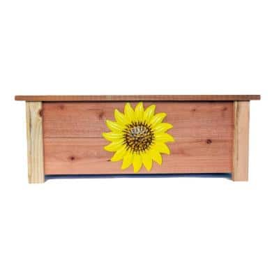 32 in. L x 18 in. W x 12 in. H Redwood Planter with Sunflower Design
