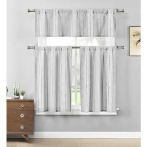 Black/White Striped Rod Pocket Room Darkening Curtain - 58 in. W x 15 in. L (Set of 2)