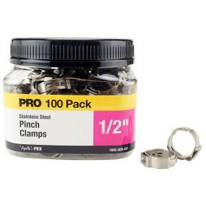 1/2 in. Stainless Steel PEX Barb Pinch Clamp Jar (100-Pack)