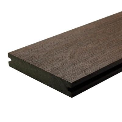 UltraShield Naturale Magellan 1 in. x 6 in. x 4 ft. Spanish Walnut Solid with Groove Composite Decking Board (4-Pack)