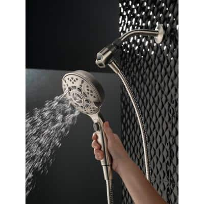 SureDock 7-Spray 5 in. Single Wall Mount Handheld H2Okinetic Shower Head in SpotShield Brushed Nickel