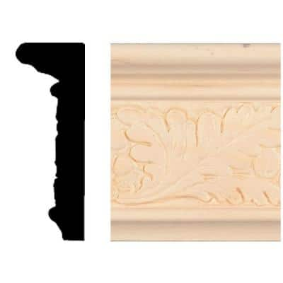 7/8 in. x 2-1/2 in. x 8 ft. Hardwood Emboss Leaf Chair Rail Moulding