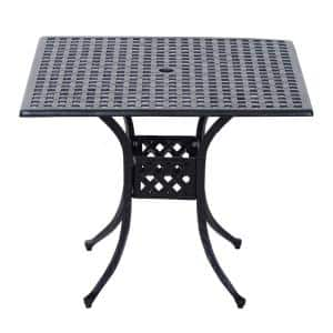36 in. x 36 in. Square Metal Outdoor Patio Bistro Dining Table with Center Umbrella Hole and Cast Iron Stylish Design