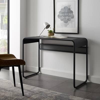 42 in. Rectangular Gunmetal Gray Writing Desks with Storage