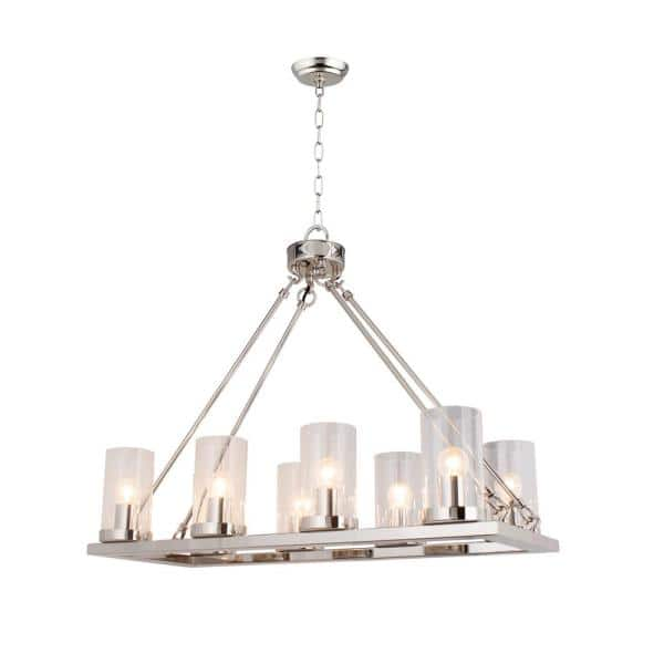 8 Light Nickel Candle Style Chandelier With Clear Glass Shade Lz10 8n The Home Depot