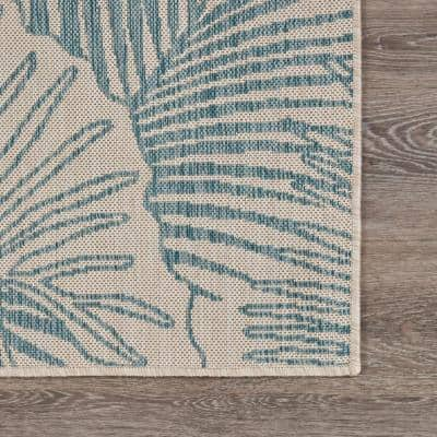 Seaside Tropical White/Blue 7 ft. 6 in. x 9 ft. 5 in. Flora Polypropylene Indoor/Outdoor Area Rug