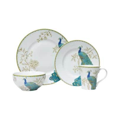Peacock Garden 16-Piece Casual Blue Porcelain Dinnerware Set (Service for 4)