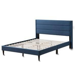 Sara Navy King Upholstered Bed with Horizontal Channels