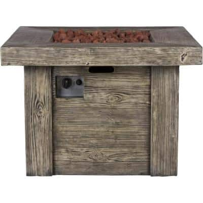 Merida Square Outdoor Propane Gas Grey Fire Pit Table with Lava Rock, 34.75 in. Long