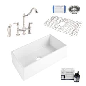 Harper All-in-One Farmhouse Apron Front Fireclay 36 in. Single Bowl Kitchen Sink with Pfister Bridge Faucet in Stainless