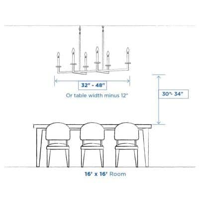 Briarwood Collection 38 in. 5-Light Antique Bronze Farmhouse Linear Chandelier with Painted Wood Oak Frame.