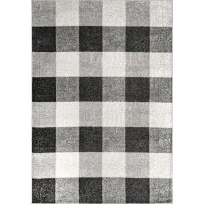 Aisha Buffalo Plaid Gray 8 ft. x 10 ft. Area Rug