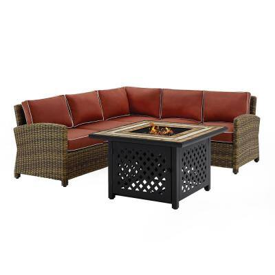 Bradenton 4-Piece Wicker Patio Fire Pit Conversation Set with Sangria Cushions