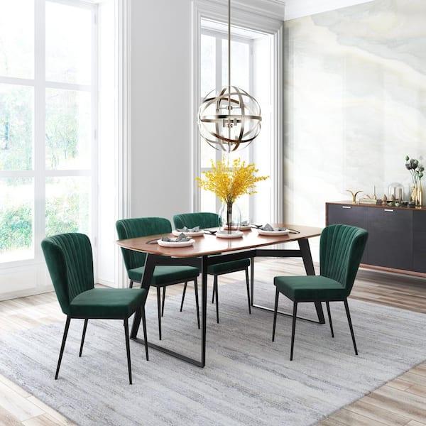 Zuo Tolivere Green Velvet Dining Chair, Green Velvet Dining Room Chairs