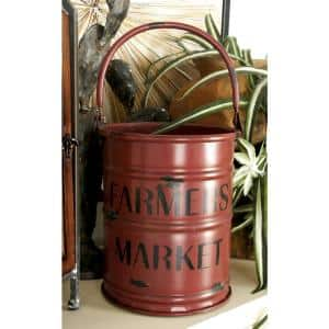 Multicolor Iron Metal Farmer's Market Drum Planters with Handle (Set of 3)