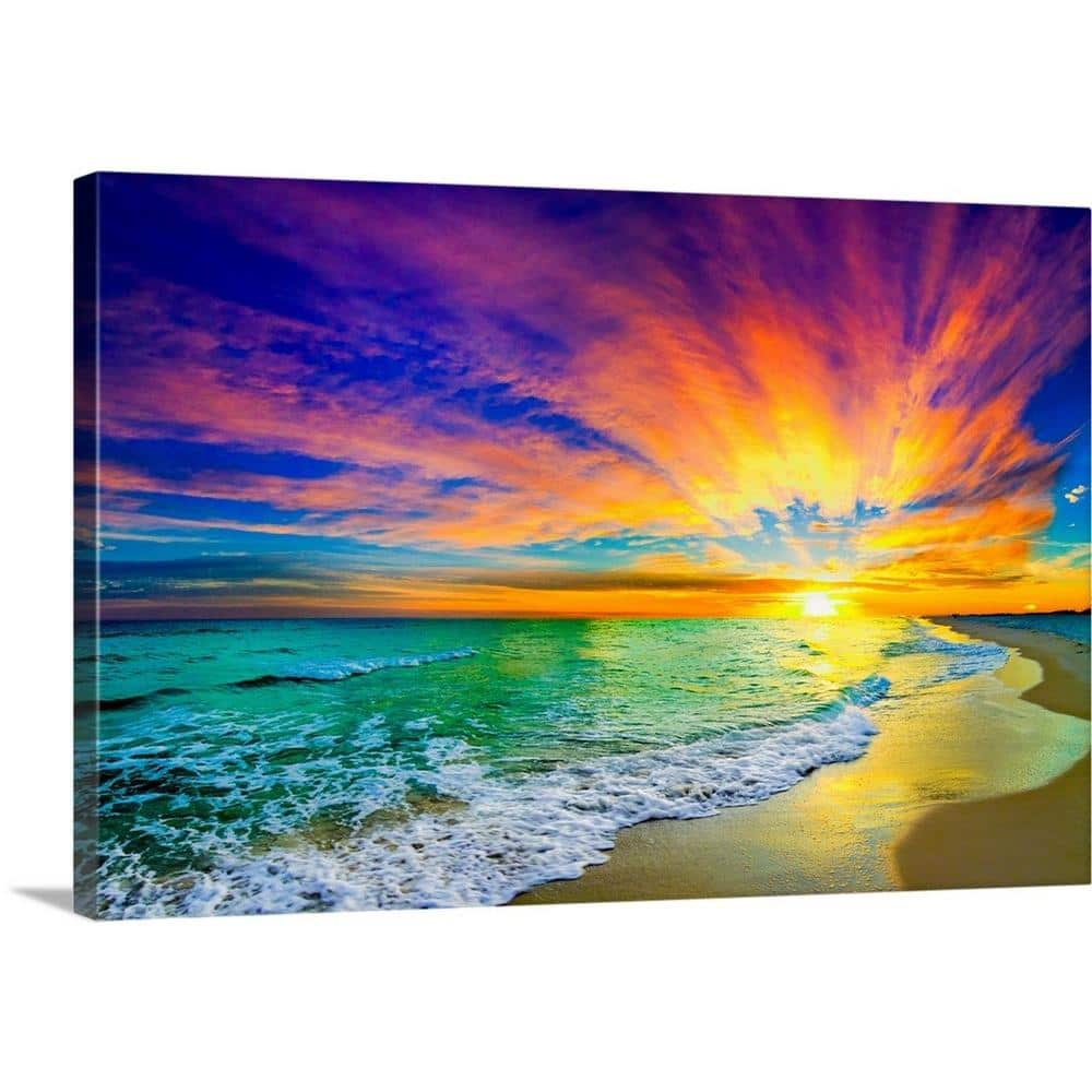 Greatbigcanvas 36 In X 24 In Colorful Ocean Sunset Orange And Red Beach Sunset By Eszra Tanner Canvas Wall Art 2528556 24 36x24 The Home Depot
