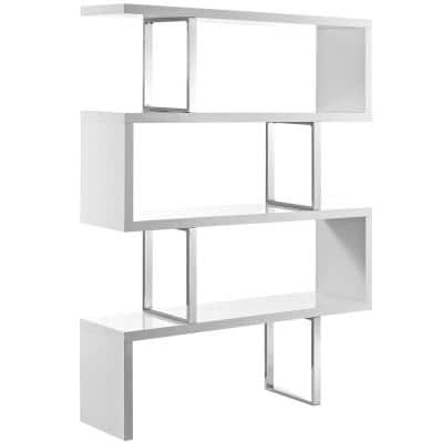 66 in. White Wood 3-shelf Accent Bookcase with Open Back