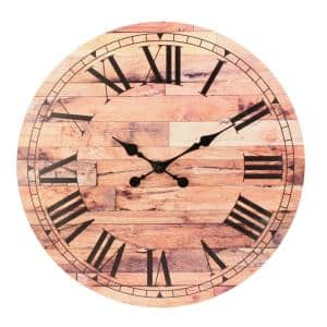 23.6 in. Brown Vintage Roman Numeral Wall Clock