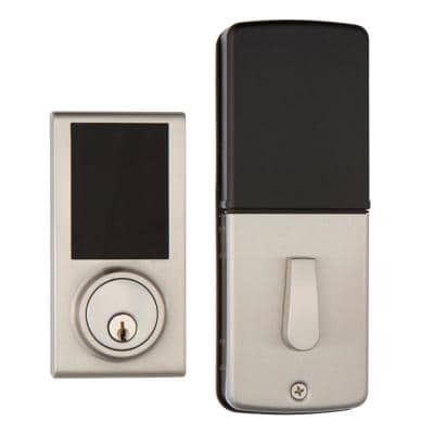Satin Nickel Touchscreen ZWave Smartlock Single Cylinder Deadbolt