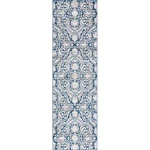 Madison Dark Blue 2 ft. x 10 ft. Geometric Runner Rug